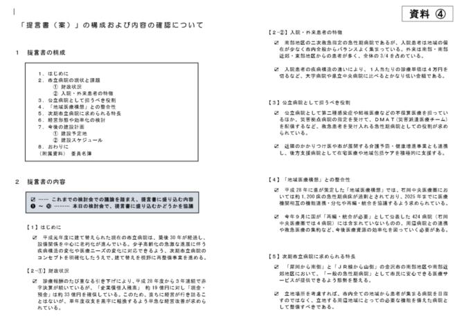 金沢市立病院のあり方検討会の資料